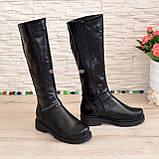 Чоботи жіночі чоботи на товстій підошві, натуральна чорна шкіра, фото 3
