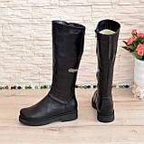 Чоботи жіночі чоботи на товстій підошві, натуральна чорна шкіра, фото 4