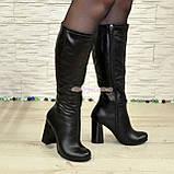 Сапоги черные кожаные демисезонные на устойчивом каблуке, фото 3