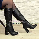 Сапоги черные кожаные демисезонные на устойчивом каблуке, фото 5