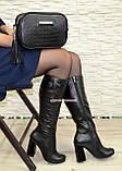 Сапоги черные кожаные демисезонные на устойчивом каблуке, фото 6