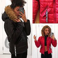 Модная куртка капюшон на меху чёрная красная с надписями S M L 42 44 46 48 CAVALIERI