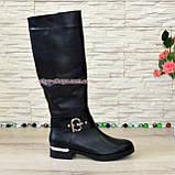 Сапоги женские демисезонные кожаные на невысоком каблуке, фото 2