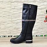 Сапоги женские демисезонные кожаные на невысоком каблуке, фото 3