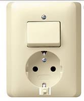 """Комбинированный прибор розетка и выключатель Standard 55 кремовый """"Gira 017601"""""""