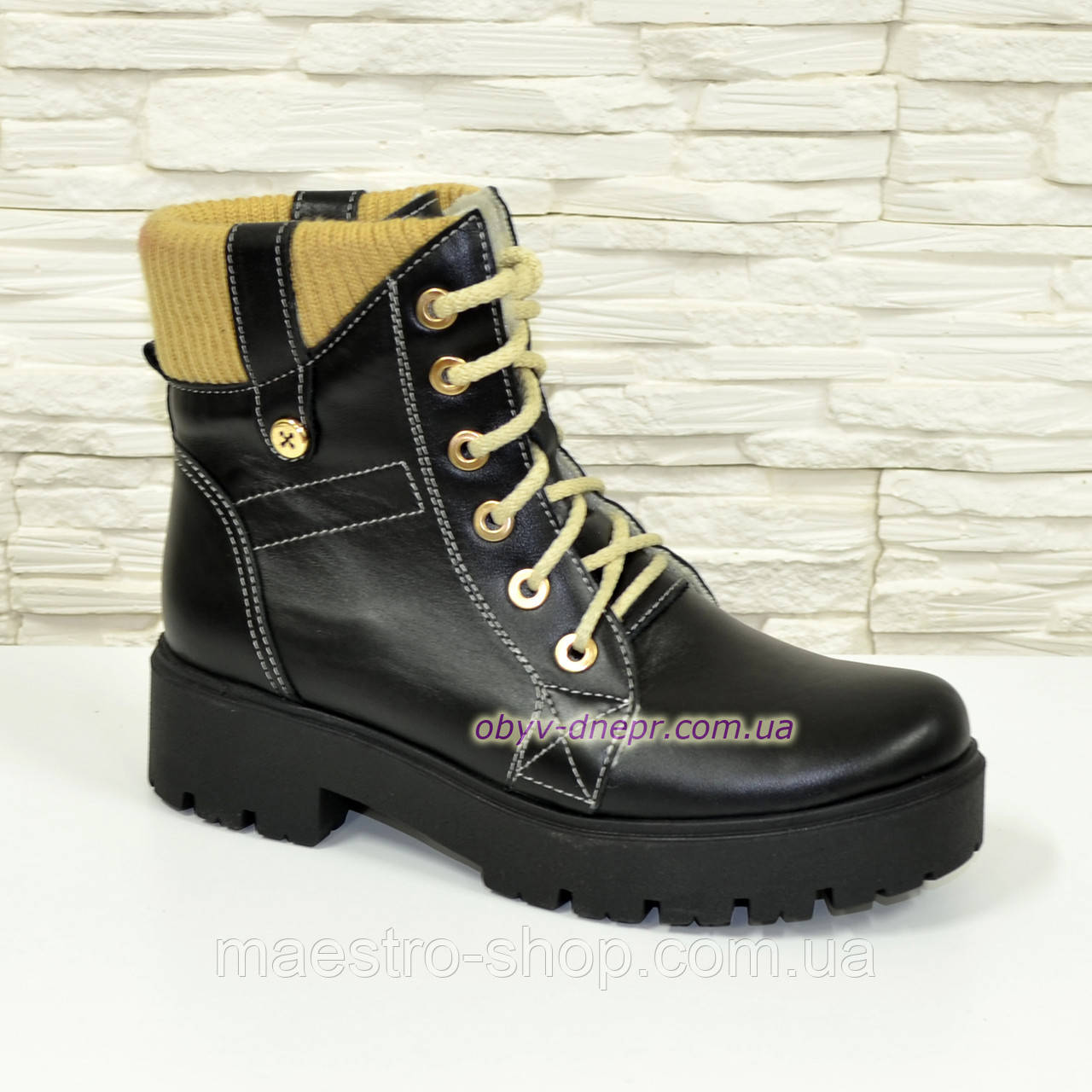 Женские демисезонные ботинки на шнуровке, из натуральной черной кожи