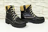 Женские демисезонные ботинки на шнуровке, из натуральной черной кожи, фото 2