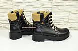 Женские демисезонные ботинки на шнуровке, из натуральной черной кожи, фото 3