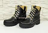 Женские демисезонные ботинки на шнуровке, из натуральной черной кожи, фото 4