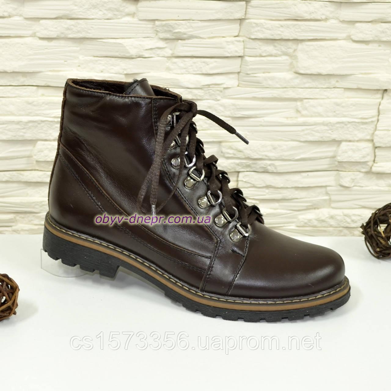 Ботинки демисезонные женские кожаные коричневого цвета