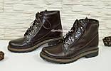 Ботинки демисезонные женские кожаные коричневого цвета, фото 4