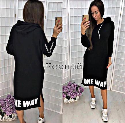 Черное платье миди свободного кроя с длинным рукавом, фото 2