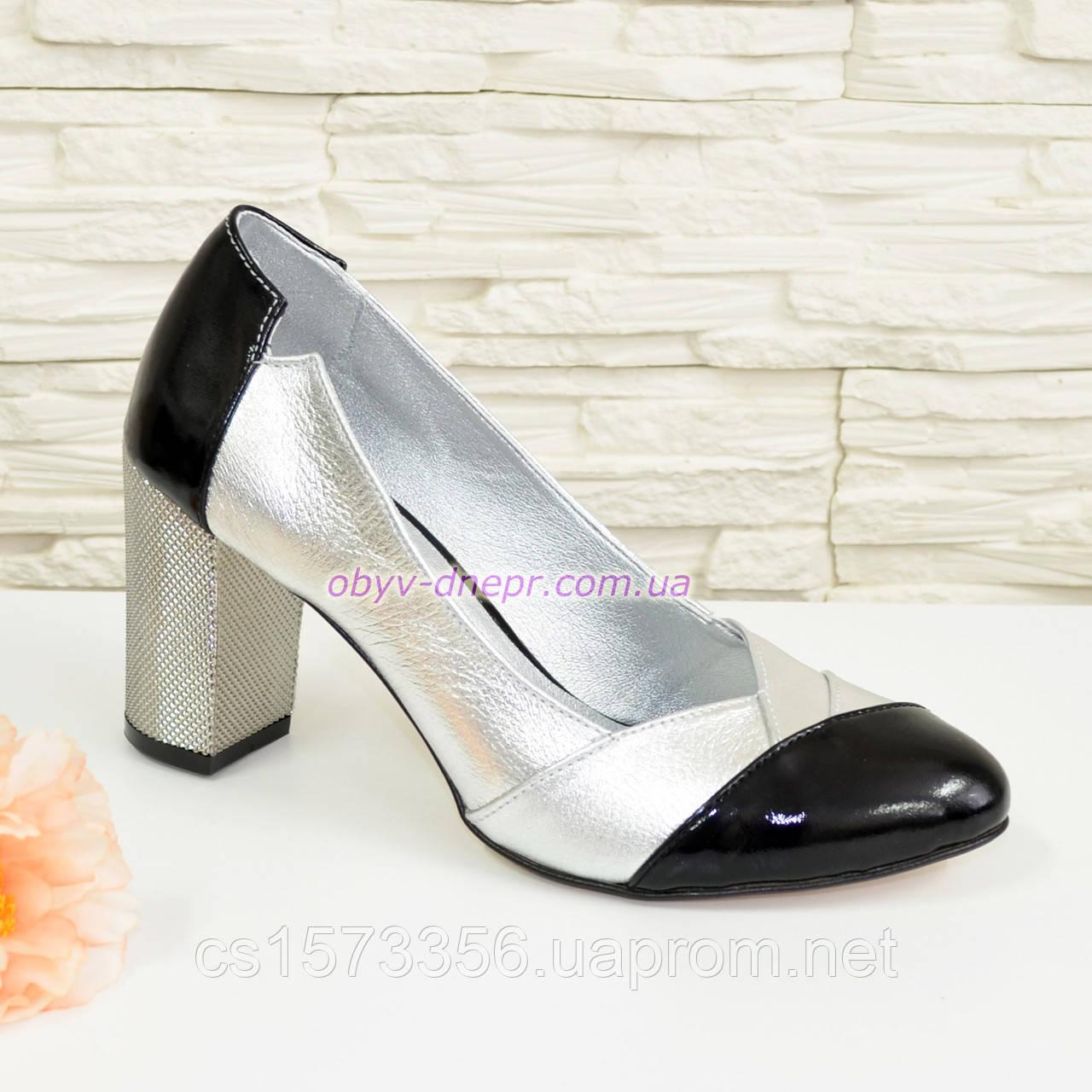 Туфли женские классические на устойчивом каблуке, натуральная кожа и лак.
