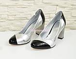 Туфли женские классические на устойчивом каблуке, натуральная кожа и лак., фото 4