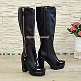 Сапоги демисезонные на высоком каблуке, декорированы молнией, фото 3