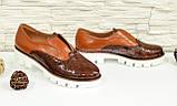 Женские коричневые туфли на утолщенной подошве, кожа и кожа рептилия., фото 2