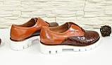 Женские коричневые туфли на утолщенной подошве, кожа и кожа рептилия., фото 3