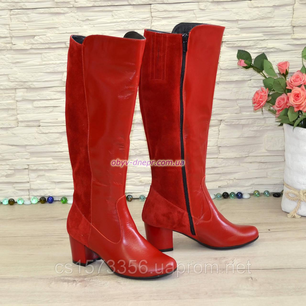Сапоги женские демисезонные на невысоком каблуке, из натуральной кожи и замши красного цвета