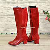 Сапоги женские демисезонные на невысоком каблуке, из натуральной кожи и замши красного цвета, фото 3