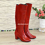 Сапоги женские демисезонные на невысоком каблуке, из натуральной кожи и замши красного цвета, фото 4