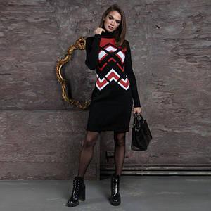Женские трикотажное платье Злата черное с вишней