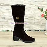 Сапоги замшевые женские демисезонные на невысоком каблуке, из натуральной замши коричневого цвета , фото 2