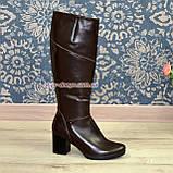 Чоботи жіночі туфлі на стійкому каблуці, натуральна коричнева шкіра., фото 4