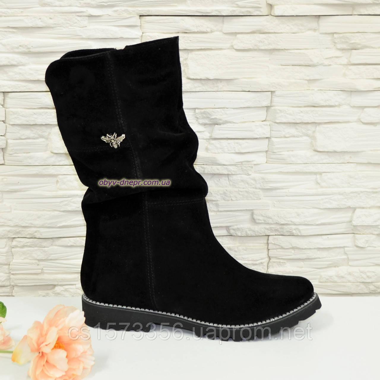 Жіночі черевики демісезонні на байку, натуральна чорна замша.