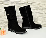 Жіночі черевики демісезонні на байку, натуральна чорна замша., фото 2