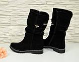 Жіночі черевики демісезонні на байку, натуральна чорна замша., фото 3
