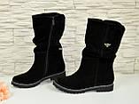 Жіночі черевики демісезонні на байку, натуральна чорна замша., фото 4