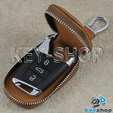 Ключниця кишенькова (шкіряна, світло - коричнева, з карабіном, кільцем), логотип авто Skoda (Шкода), фото 2