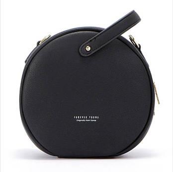 Модная маленькая женская сумка. Сумка женская круглая WEICHEN (черная)