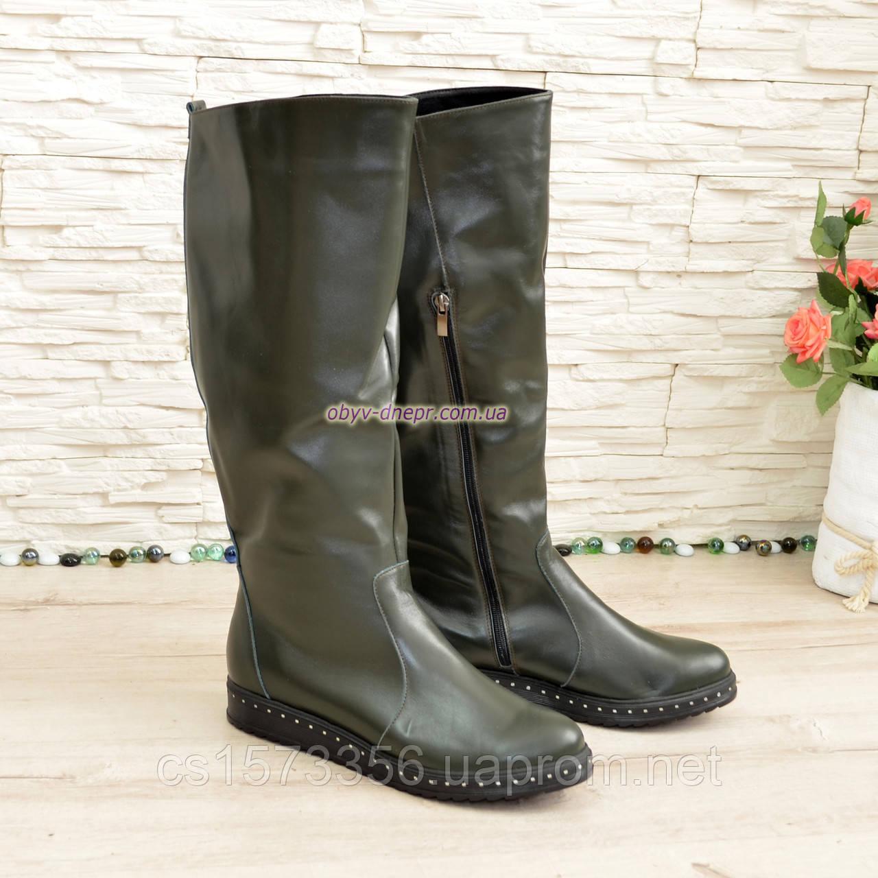 Чоботи-труби чоботи на товстій підошві, натуральна зелена шкіра
