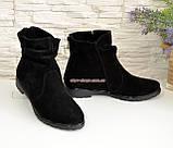 Демисезонные женские ботинки замшевые на низком ходу, фото 2