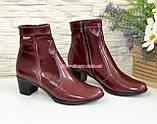 Женские демисезонные ботинки на невысоком каблуке, цвет бордо, фото 2
