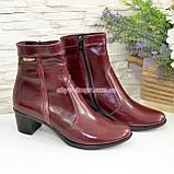 Женские демисезонные ботинки на невысоком каблуке, цвет бордо, фото 4