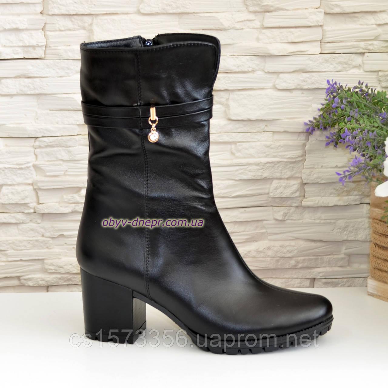 Ботинки женские кожаные демисезонные на устойчивом каблуке