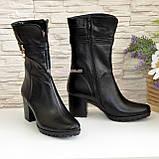 Ботинки женские кожаные демисезонные на устойчивом каблуке, фото 2