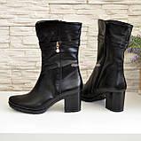 Ботинки женские кожаные демисезонные на устойчивом каблуке, фото 3