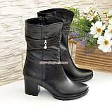 Ботинки женские кожаные демисезонные на устойчивом каблуке, фото 4