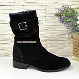 Ботинки женские замшевые демисезонные на низком ходу. Цвет черный, фото 2