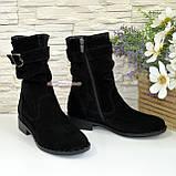 Ботинки женские замшевые демисезонные на низком ходу. Цвет черный, фото 3