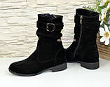 Ботинки женские замшевые демисезонные на низком ходу. Цвет черный, фото 4