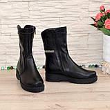 Ботинки женские кожаные демисезонные на утолщенной подошве, натуральная черная кожа, фото 3