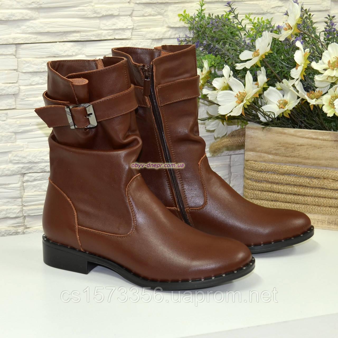 Ботинки женские кожаные демисезонные коричневые на маленьком каблуке