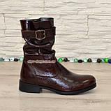 Ботинки женские кожаные демисезонные коричневые на маленьком каблуке, фото 2