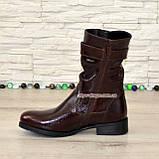 Ботинки женские кожаные демисезонные коричневые на маленьком каблуке, фото 3