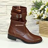 Ботинки женские кожаные демисезонные коричневые на маленьком каблуке, фото 4