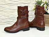 Ботинки женские кожаные демисезонные коричневые на маленьком каблуке, фото 5